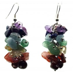 Chakra Gemstone Chip Cluster Earrings