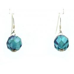 Aqua Aura Faceted Sterling Silver Fishhook Earrings