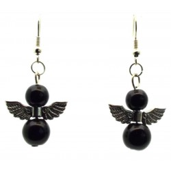 Black Guardian Angel Fishhook Earrings
