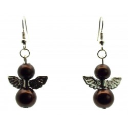 Brown Guardian Angel Fishhook Earrings