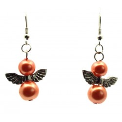 Coral Guardian Angel Fishhook Earrings