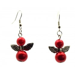 Crimson Guardian Angel Fishhook Earrings