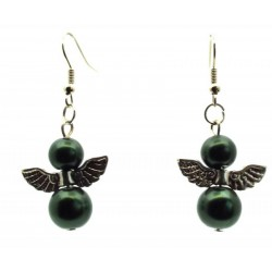 Dark Green Guardian Angel Fishhook Earrings