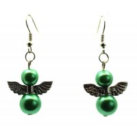 Green Guardian Angel Fishhook Earrings