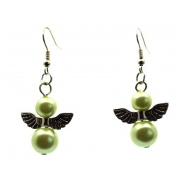 Olive Guardian Angel Fishhook Earrings