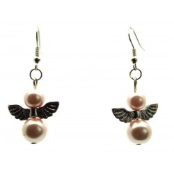 Pale Pink Guardian Angel Fishhook Earrings