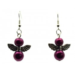 Purple Guardian Angel Fishhook Earrings