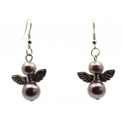 Rosy Brown Guardian Angel Fishhook Earrings