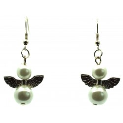 White Guardian Angel Fishhook Earrings