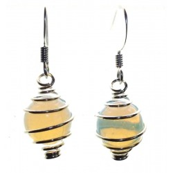 Opalite Spiral Sphere Gemstone Fishhook Earrings
