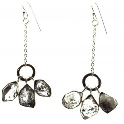 Herkimer Diamond Gemstone Sterling Silver Fishhook Earrings
