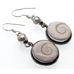 Shiva Shell and Pearl Indian Silver Fishhook Earrings