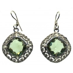 Prasiolite Gemstone Indian Silver Fishhook Earrings 01