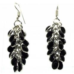 Black Obsidian Gemstone Gypsy Charm Fishhook Earrings 03