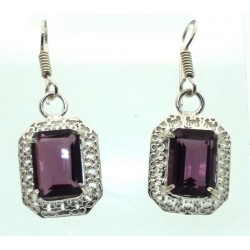 Amethyst Gemstone Indian Silver Fishhook Earrings