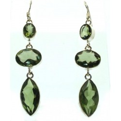 Prasiolite Gemstone Indian Silver Fishhook Earrings 02