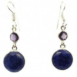 Lapis Lazuli and Amethyst Indian Silver Fishhook Earrings