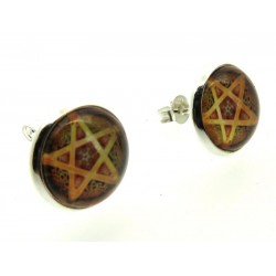 Brown Pentacle Glass Dome Metal Stud Earrings