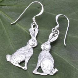 Moongazing Hare Silver Fishhook Earrings