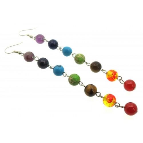 Chakra Gemstone Bead Earrings