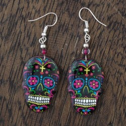 Large Candy Skull Fishhook Earrings
