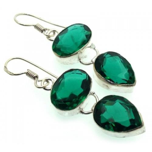 Indian Silver Diopside Fishhook Earrings 03