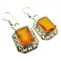 Citrine Gemstone Indian Silver Fishhook Earrings 02