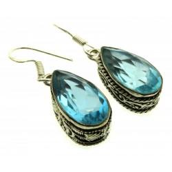 Blue Topaz Gemstone Indian Silver Fishhook Earrings 01