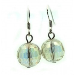 Angel Aura Gemstone Faceted Sphere Fishhook Earrings