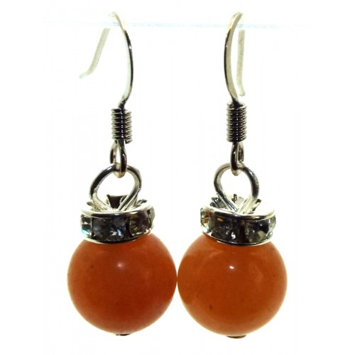 Orange Jade Gemstone Sphere Fishhook Earrings