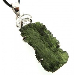 Moldavite and Herkimer Diamond Sterling Silver Pendant 02