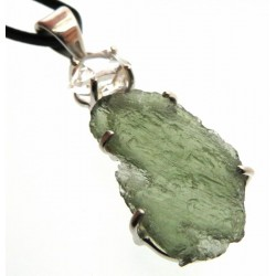 Moldavite and Herkimer Diamond Sterling Silver Pendant 04