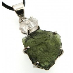 Moldavite and Herkimer Diamond Sterling Silver Pendant 05