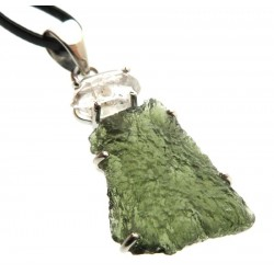 Moldavite and Herkimer Diamond Sterling Silver Pendant 06