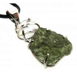 Moldavite and Herkimer Diamond Sterling Silver Pendant 07