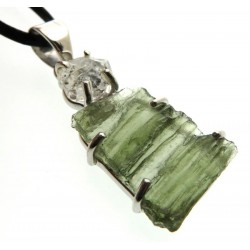 Moldavite and Herkimer Diamond Sterling Silver Pendant 08