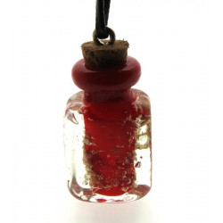 Lachrymatory Style Red Glass Bottle Pendant