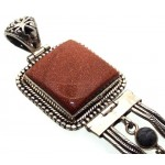 Goldstone Indian Silver Pendant 01