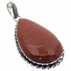 Goldstone Indian Silver Pendant 03