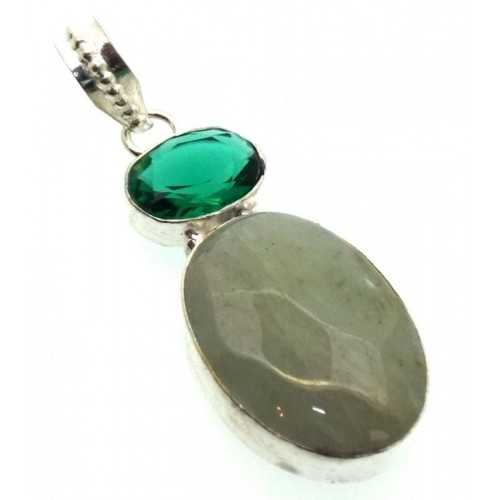 Aquamarine and Diopside Indian Silver Pendant 02