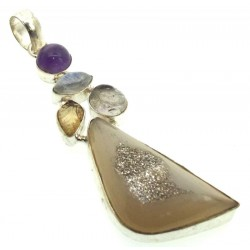 Druzy Agate Rainbow Moonstone and Amethyst Indian Silver Pendant 01