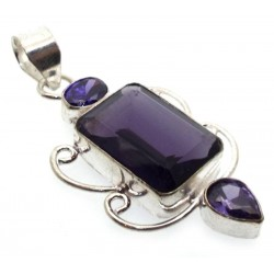 Amethyst Indian Silver Pendant 01
