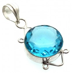 Blue Topaz Indian Silver Pendant 01