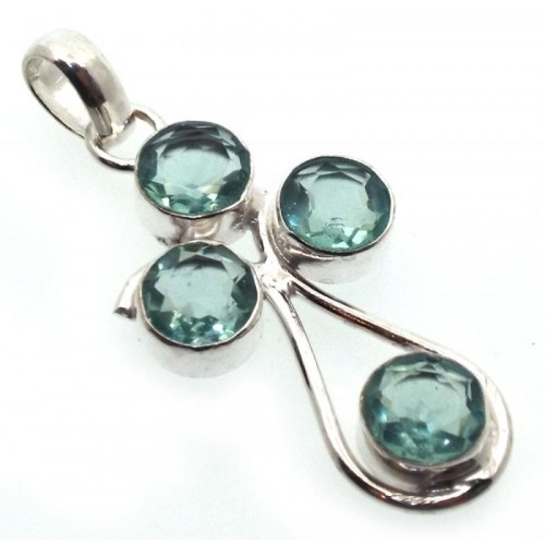 Blue Topaz Indian Silver Pendant 02