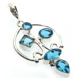 Blue Topaz Indian Silver Pendant 03