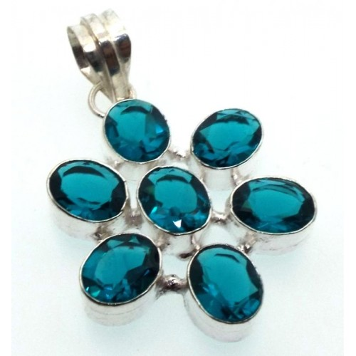 Blue Topaz Indian Silver Pendant 04