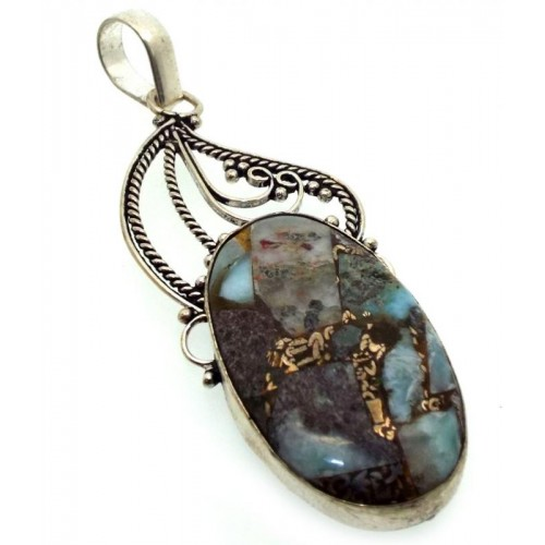 Mohave Turquoise Indian Silver Pendant 01