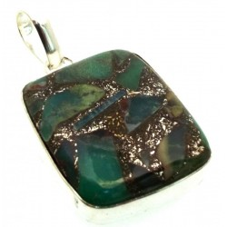 Mohave Turquoise Indian Silver Pendant 02