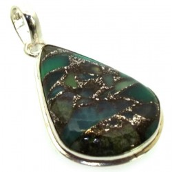 Mohave Turquoise Indian Silver Pendant 03