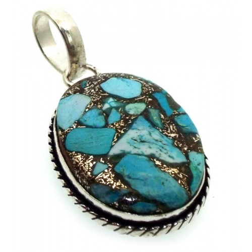 Mohave Turquoise Indian Silver Pendant 04